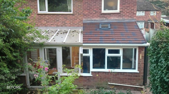 Horsford Warm Roof project before and after